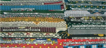 Swahili text on kanga cloths