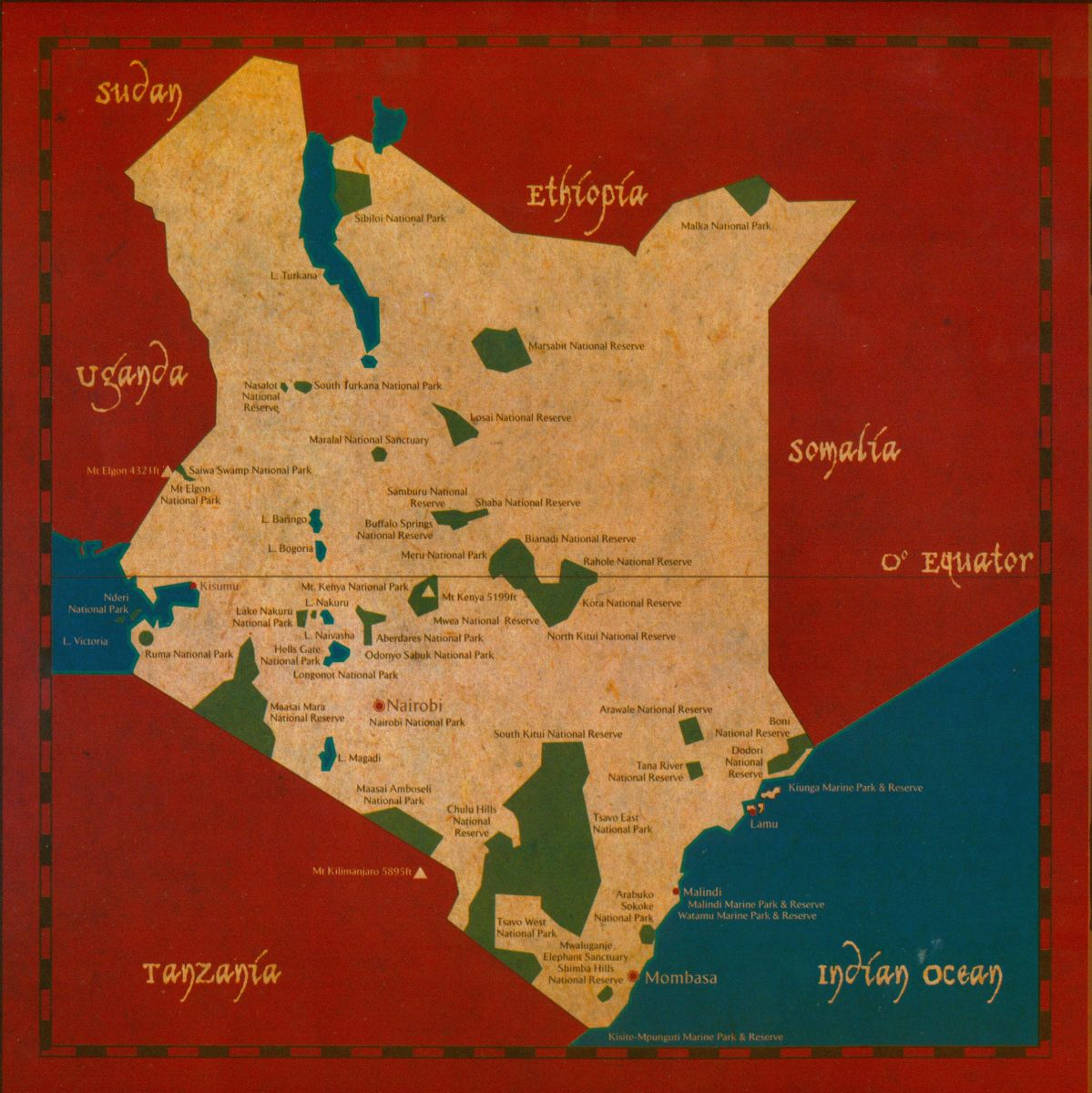 Kenya – Kenya Tourist Attractions Map